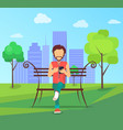 man sits on bench in city park with modern vector image vector image