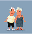 middle aged couple holding hands cartoon vector image