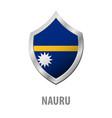 nauru flag on metal shiny shield vector image vector image