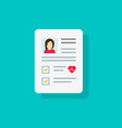 patient card icon or medical form list with vector image vector image