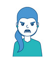 portrait woman angry facial expression cartoon vector image vector image