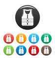 river canoe vest icons set color vector image vector image