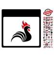 Rooster Calendar Page Flat Icon With Bonus vector image vector image