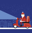 santa claus delivering christmas gifts vector image