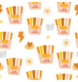 seamless childish pattern with rainbow french vector image