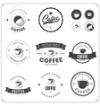set coffee themed monochrome labels vector image vector image