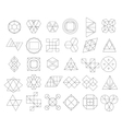 Set of outline hipster logos and design elements vector image