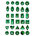 Set of realistic green emeralds vector image vector image