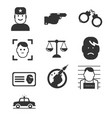 simple crime icons set vector image