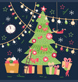 small people characters decorating big christmas vector image