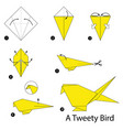 step instructions how to make origami a bird vector image vector image