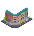 town building isometric composition vector image vector image