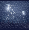 two lightning flashes and raindrops in the dark vector image