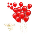 valentine day golden text with red balloons vector image vector image