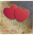 Vintage background with two hearts vector image vector image