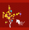 happy chinese new year flower lanterns background vector image