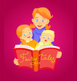 mother reads a fairy tale to children vector image