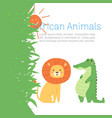 african jungle animals lion and crocodile for cute vector image vector image