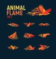 animal flame mascot set logo vector image