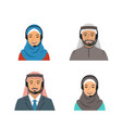 arab people call center agents flat avatars vector image