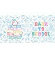 back to school color books and apple doodle card vector image vector image