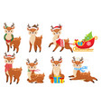 cartoon christmas deer cute fawn in winter scarf vector image vector image