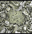 cartoon doodles soccer frame graphics vector image vector image