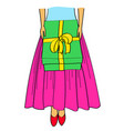 cartoon girl with gifts bottom vector image vector image