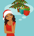 Christmas black woman thinking vector image vector image