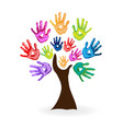 colorful creative tree and hands vector image