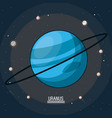 colorful poster of the planet uranus in the space vector image vector image