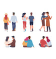 couple back view men and women pairs vector image vector image