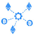 cryptocurrency network nodes grunge icon vector image vector image