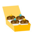 cupcakes in a delivery box vector image vector image