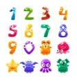 Digit Shaped Animals And Jelly Creatures Set vector image