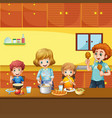 family having meal in kitchen vector image