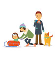 family holiday in winter playing ski with dog vector image