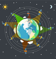 Flat design of the Earth in space and satellites vector image vector image
