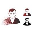 fragmented dot halftone man icon vector image vector image
