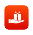gift box in hand icon digital red vector image