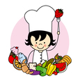 girl with food healthy vector image