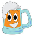 glass of foaming beer print on white background vector image