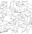 hand drawn sketch seamless pattern of shoes vector image vector image