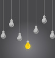Idea concept with light bulbs on a grey background vector image