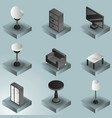 Interior color gradient isometric icons