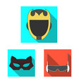 isolated object of hero and mask symbol set of vector image