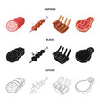 isolated object of meat and ham sign set of meat vector image