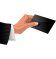 Male hand with black business card vector image