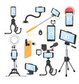 mobile phone photo and video equipment flat vector image