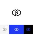 n in rhombus minimalism logo letter n vector image